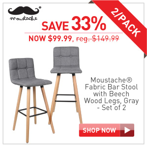 Save 33% Moustache Fabric bar stool set of 2