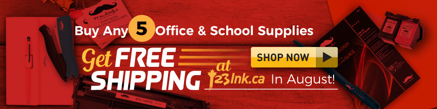 Buy 5 office school supplies get free shipping at 123ink.ca site