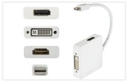 High Quality 3 in 1 Mini DisplayPort DP to DP DVI HDMI Cable Adapter