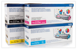 Brother TN221/TN225 High Yield OEM Toner Combo TN221BK+TN225C/M/Y