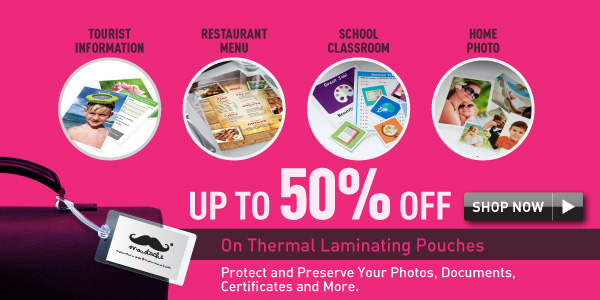 up to 50% off thermal laminating pouches