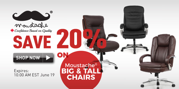 save 20% on Moustache Big & Tall Chairs