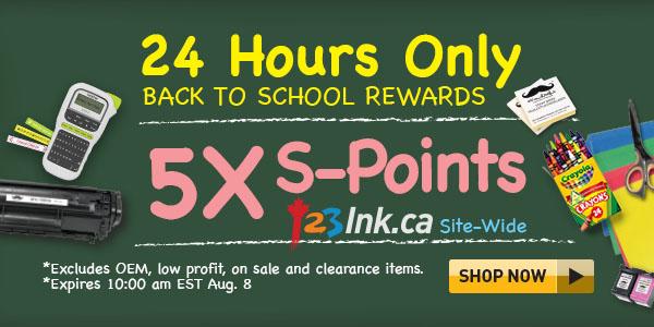 24 hrs 5x S-Points back to school rewards