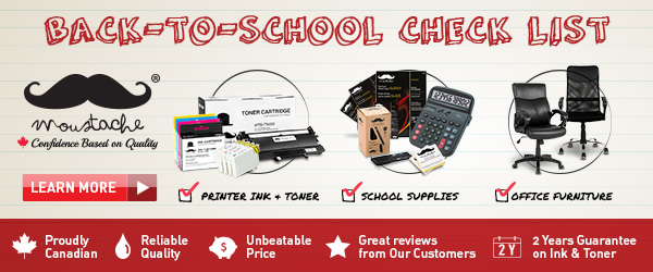 Back-to-school check list: Moustache printer ink, toner cartridges, office supplies and furnitures