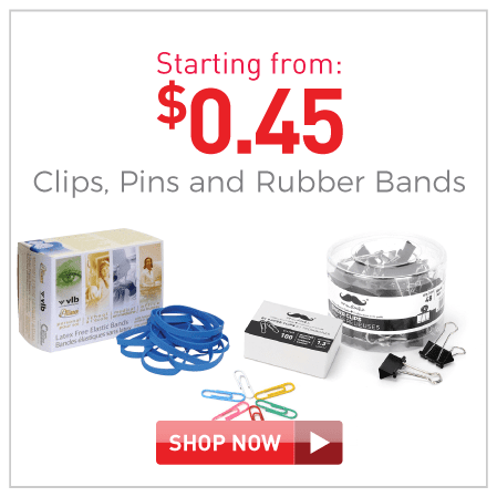 Clips, pins and rubber bands starting from $0.45