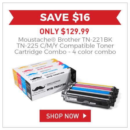 Moustache® Brother TN-221BK TN-225 C/M/Y Compatible Toner Cartridge Combo - 4 color combo