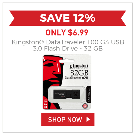 Kingston® DataTraveler 100 G3 USB 3.0 Flash Drive - 32 GB